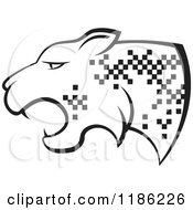 Clipart Of A Black And White Cheetah With Pixel Spots Royalty Free Vector Illustration by Lal Perera