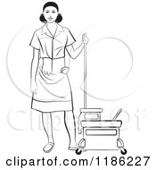 Clipart Of A Blackl And White Janitorial Woman Standing By A Mop Bucket Royalty Free Vector Illustration