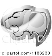 Clipart Of A Silver Cheetah Head Icon Royalty Free Vector Illustration by Lal Perera