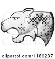 Clipart Of A Silver Cheetah With Pixel Spots Royalty Free Vector Illustration by Lal Perera