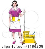 Janitorial Woman In A Purple Uniform Standing By A Mop Bucket