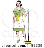 Clipart Of A Janitorial Woman With A Broom Royalty Free Vector Illustration