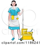 Janitorial Woman In A Blue Uniform Standing By A Mop Bucket