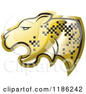 Clipart Of A Gold Cheetah With Pixel Spots Royalty Free Vector Illustration