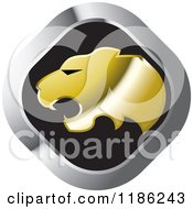 Clipart Of A Silver And Gold Cheetah Icon Royalty Free Vector Illustration