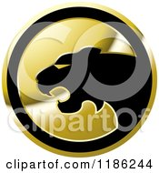 Clipart Of A Gold Cheetah Icon Royalty Free Vector Illustration