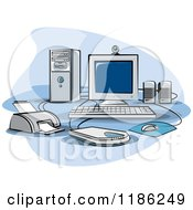 Clipart Of A Desktop Computer Work Station Set Up Royalty Free Vector Illustration