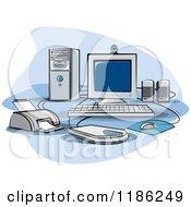 Desktop Computer Work Station Set Up
