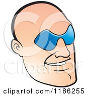 Clipart Of A Bald Mans Face With Glasses Royalty Free Vector Illustration