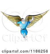 Clipart Of A Super Hero Man With Gold Wings Royalty Free Vector Illustration