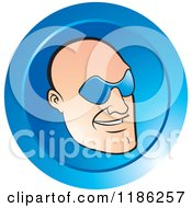 Clipart Of A Bald Mans Face With Glasses On A Blue Icon Royalty Free Vector Illustration