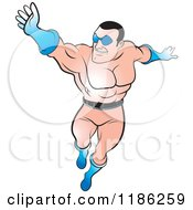 Clipart Of A Super Hero Man Flying Royalty Free Vector Illustration by Lal Perera