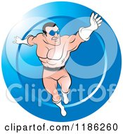 Clipart Of A Super Hero Man Flying Over A Blue Icon Royalty Free Vector Illustration by Lal Perera