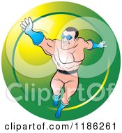 Clipart Of A Super Hero Man Flying Over A Green Icon Royalty Free Vector Illustration by Lal Perera