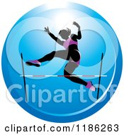 Clipart Of A Woman High Jumping On A Blue Icon Royalty Free Vector Illustration by Lal Perera