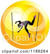 Clipart Of A Woman High Jumping On An Orange Icon Royalty Free Vector Illustration by Lal Perera