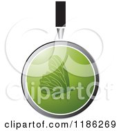 Clipart Of A Magnifying Glass Over A Green Butterfly Royalty Free Vector Illustration by Lal Perera