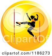 Clipart Of A Woman High Jumping On An Orange Icon 2 Royalty Free Vector Illustration by Lal Perera