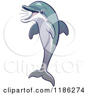 Cartoon Of A Jumping And Squeeking Dolphin Royalty Free Vector Clipart