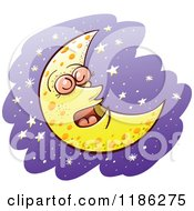 Cartoon Of A Sleeping Crescent Moon Over Purple And Stars Royalty Free Vector Clipart