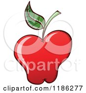 Cartoon Of A Red Apple With A Single Leaf Royalty Free Vector Clipart