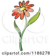 Cartoon Of A Red Daisy Flower And Stem Royalty Free Vector Clipart by Zooco