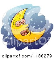 Cartoon Of A Sleeping Crescent Moon Over Blue And Stars Royalty Free Vector Clipart