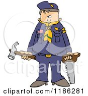 Cartoon Of A Scout Boy Holding Tools Royalty Free Vector Clipart by djart
