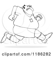 Cartoon Of An Outlined Chubby Man Sprinting Away From Something Royalty Free Vector Clipart