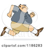 Cartoon Of A Chubby Man Sprinting Away From Something Royalty Free Vector Clipart