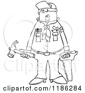 Cartoon Of An Outlined Scout Boy Holding Tools Royalty Free Vector Clipart by djart