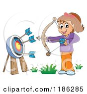 Cartoon Of A Happy Archery Girl Shooting Arrows Royalty Free Vector Clipart by visekart
