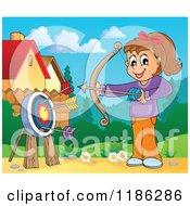 Cartoon Of A Happy Archery Girl Shooting Arrows In A Meadow Royalty Free Vector Clipart by visekart