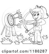 Cartoon Of An Outlined Happy Archery Girl Shooting Arrows Royalty Free Vector Clipart by visekart