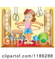 Cartoon Of A Happy Girl Playing With A Hula Hoop In A Gym Royalty Free Vector Clipart by visekart