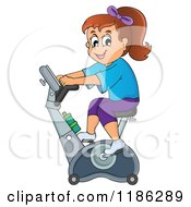 Cartoon Of A Happy Girl Riding An Upright Spin Bike At The Gym Royalty Free Vector Clipart