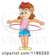 Cartoon Of A Happy Girl Playing With A Hula Hoop Royalty Free Vector Clipart