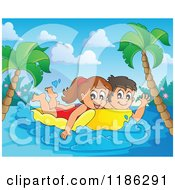 Cartoon Of A Happy Children Swimming On An Inflatable Mattress In A Tropical Setting Royalty Free Vector Clipart