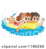 Cartoon Of A Happy Children Swimming On An Inflatable Mattress Royalty Free Vector Clipart by visekart