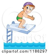 Cartoon Of A Happy Boy On A Diving Board Royalty Free Vector Clipart