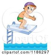 Happy Boy On A Diving Board
