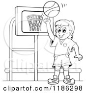 Cartoon Of An Outlined Happy Boy Spinning A Basketball By A Hoop Royalty Free Vector Clipart