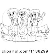 Cartoon Of Outlined Happy Children Wearing Life Jackets And Riding A Banana Boat Royalty Free Vector Clipart
