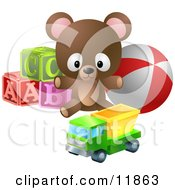 Cute Little Brown Teddy Bear With Alphabet Blocks A Ball And A Truck Toy Clipart Illustration by AtStockIllustration