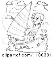 Cartoon Of An Outlined Happy Boy Wind Surfing Royalty Free Vector Clipart by visekart