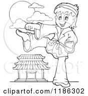 Cartoon Of An Outlined Kicking Karate Boy Royalty Free Vector Clipart