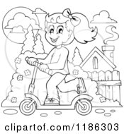 Cartoon Of An Outlined Happy Girl Riding A Scooter Royalty Free Vector Clipart by visekart