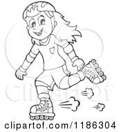Cartoon Of An Outlined Happy Girl Roller Blading Royalty Free Vector Clipart by visekart