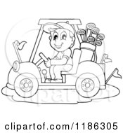 Cartoon Of An Outlined Happy Man Driving A Golf Cart Royalty Free Vector Clipart by visekart