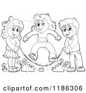 Cartoon Of Outlined Happy Children Playing Jump Rope Royalty Free Vector Clipart